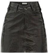 Balenciaga V-waist Patent-leather Mini Skirt - Womens - Black