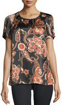 Lafayette 148 New York Kate Paisley-Print Silk Blouse, Black Multi