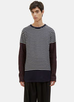 Marni Men's Contrast Striped Sweater In Navy And White