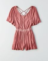 American Eagle Outfitters AE Soft & Sexy Strappy Flutter-Sleeve Romper
