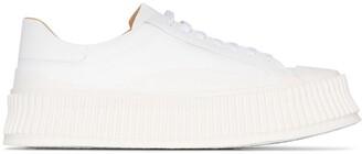 Jil Sander Ridged Sole Leather Sneakers