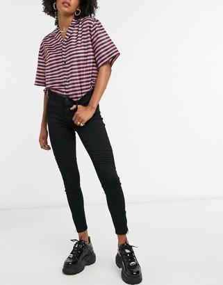 Noisy May Kimmy biker skinny jeans in black