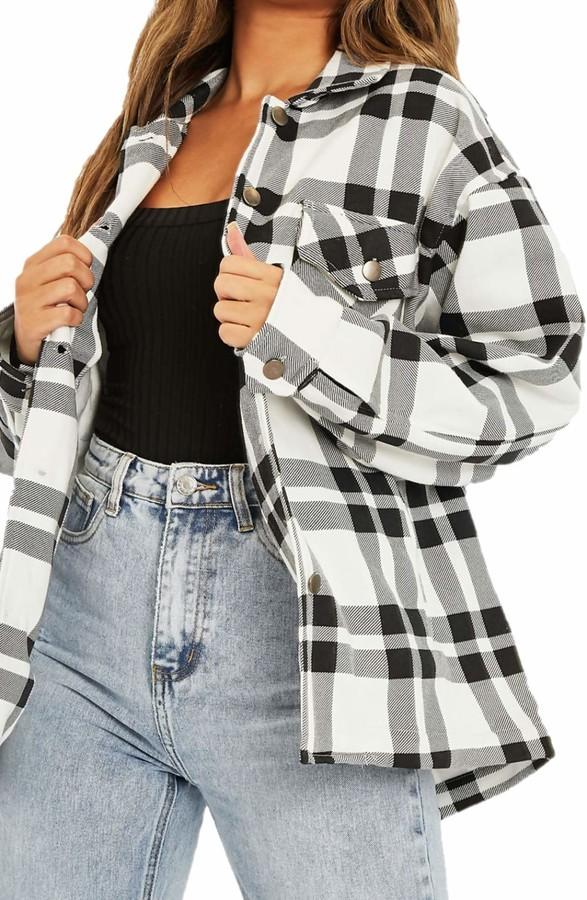 Women Check Fleece Shacket Top Shirt Coat Tunic Oversize Baggy Casual Jacket UK