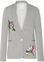 Mira Mikati Appliquéd Striped Stretch-cotton Blazer