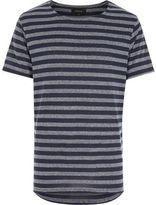 River Island MensNavy stripe curved hem short sleeve t-shirt