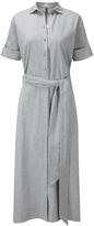 Lisa Marie Fernandez Grey Cotton Tie Waist Shirt Dress