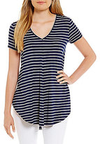 Daniel Cremieux Joy Stripe V-Neck Knit