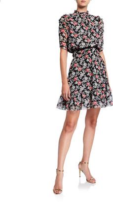 Shoshanna Jodelle Floral Print Blouson-Bodice Elbow-Sleeve Dress