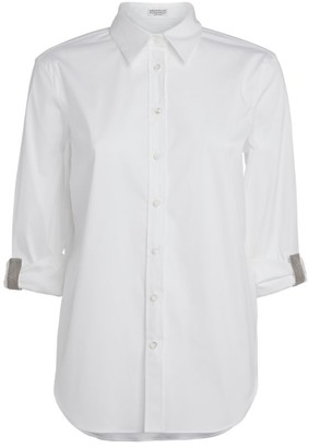 Brunello Cucinelli Embellished Cropped Sleeve Shirt