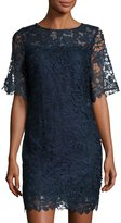 Julia Jordan Half-Sleeve Lace-Overlay Sheath Dress, Navy