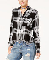 Polly and Esther Juniors' Lace-Up Plaid Shirt