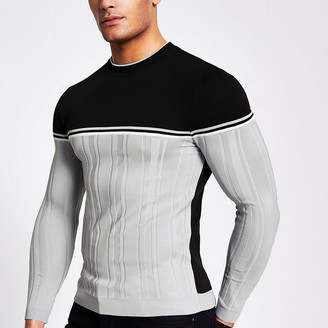River Island Grey block muscle fit ribbed knit jumper