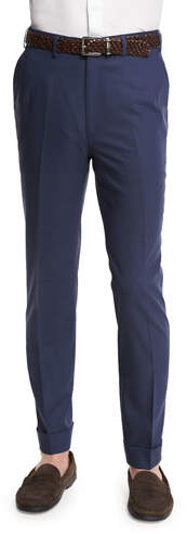 Brioni Micro-Tic Flat-Front Trousers, Navy