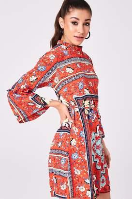 Girls On Film Claridge Red Scarf-Print Shift Dress