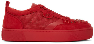 Christian Louboutin Red Suede Happyrui Sneakers