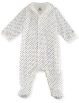 Petit Bateau Tiny Star-Print Cotton Footie Pajamas, Size Newborn-9M