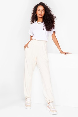 Nasty Gal Womens Run It High-Waisted Relaxed Joggers - Cream