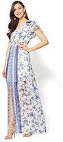 New York & Co. Short-Sleeve Maxi Dress - Border & Floral Print
