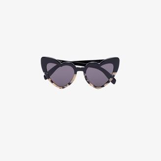 black and tortoiseshell New Wave Loulou heart sunglasses