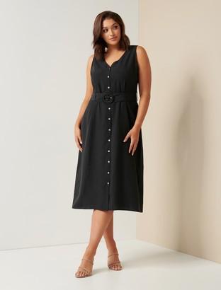 Forever New Remi Curve Raffia Buckle Midi Dress - Black - 16