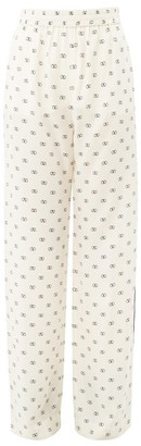 Valentino V Logo-printed Crepe Pyjama Trousers - Womens - Ivory Multi