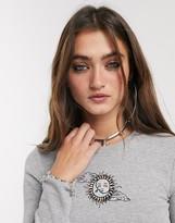 Bershka long sleeve motif t-shirt in gray