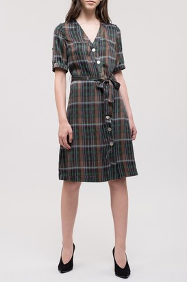 J.o.a. Asymmetrical Button Plaid Dress