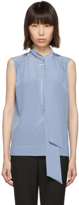 Givenchy Blue Silk Sleeveless Blouse