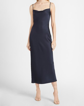 Express Satin Cowl Neck Maxi Slip Dress