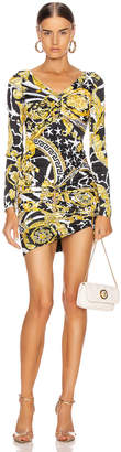 Versace Print Mini Bodycon Cocktail Dress in Black & Yellow | FWRD