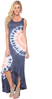 White Mark Women's Tie-Dye High-Low Maxi Dress