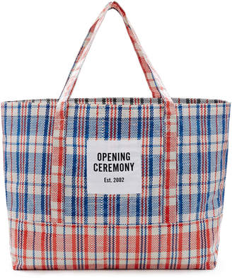 Opening Ceremony Large Plaid Tote Bag