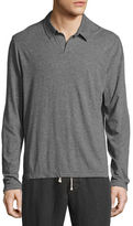 James Perse Melange Jersey Long-Sleeve Polo Shirt