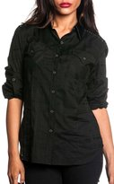 Affliction Women's Treasure L/S Woven Button-up Shirt XS