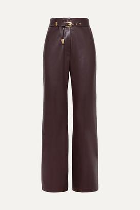 Nanushka Kisa Belted Vegan Leather Straight-leg Pants - Merlot