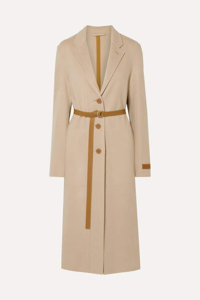 Helmut Lang Belted Layered Wool And Cashmere-blend Coat - Beige