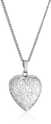 Amazon Collection Sterling Silver Engraved Flowers Heart Locket Necklace