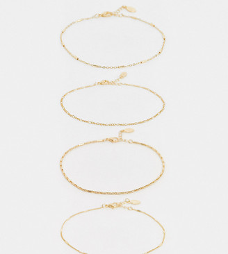 Accessorize pack of 4 chain anklets in gold