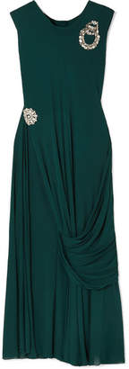 J.W.Anderson Crystal-embellished Draped Jersey Top - Forest green