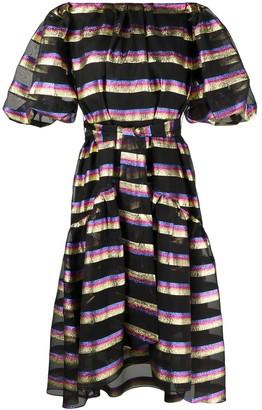 Temperley London Sheer-Panel Horizontal-Stripe Dress