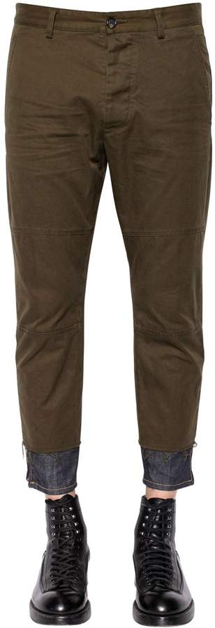 DSQUARED2 15.5cm Cotton Twill Pants W/ Denim Hem