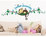 MZY LLC (TM) Sweet Dreams Monkeys and Tree Branch Birds Giant Baby Wall Sticker Decals Super for Boys and Girls Nursery Room Home Decor Decal Children's Room by Cute Product