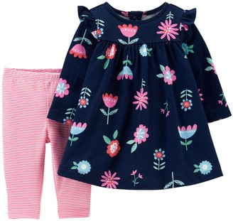 Carter's Baby Girl 2-Piece Floral Jersey Dress & Striped Leggings Set