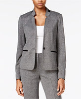 Bar III Faux-Leather-Trim Tweed Blazer, Only at Macy's
