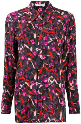 Dorothee Schumacher Abstract Print Long-Sleeve Blouse