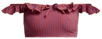 Solid & Striped The Paloma Striped Bardot Bikini Top - Womens - Red Stripe