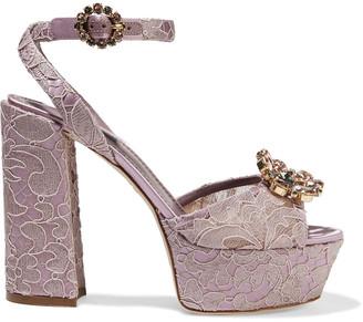 Dolce & Gabbana Crystal-embellished Corded Lace Platform Sandals