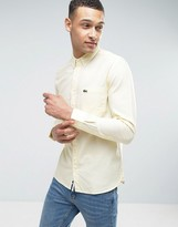 Lacoste Live Short Sleeve Shirt Oxford Buttondown Small Croc Logo Slim Fit in Yellow