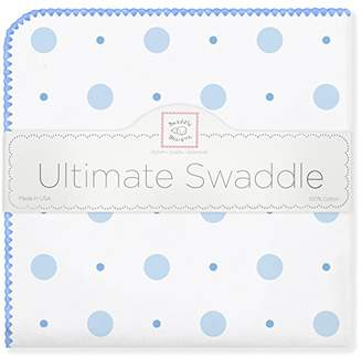 Swaddle Designs Ultimate Winter Swaddle, X-Large Receiving Blanket, Made in USA, Premium Cotton Flannel, Blue Big Dot Little Dot (Mom's Choice Award Winner)