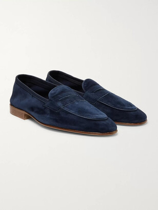 Edward Green Polperro Suede Penny Loafers - Men - Blue